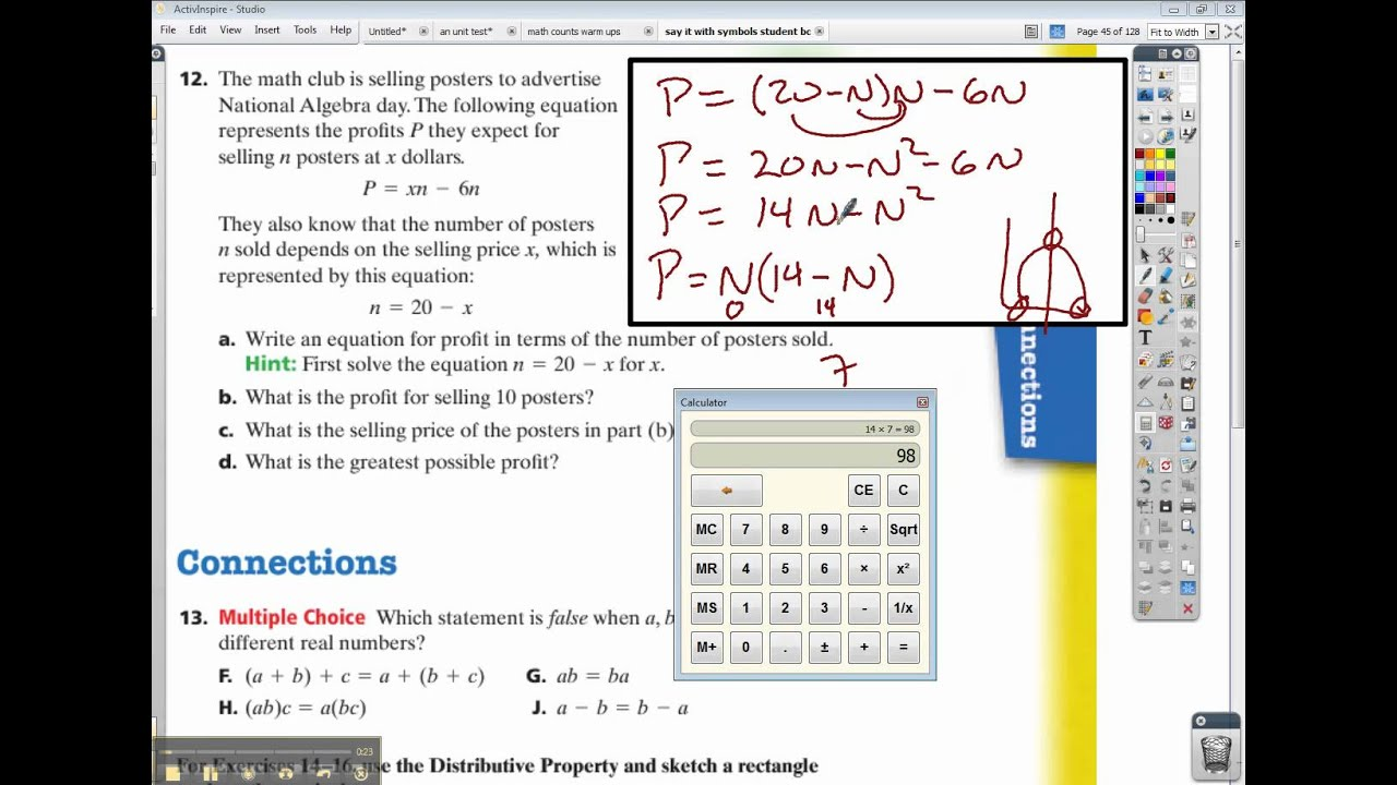 Connected Math Say It With Symbols Inv 2 Ace 12 Finish Youtube