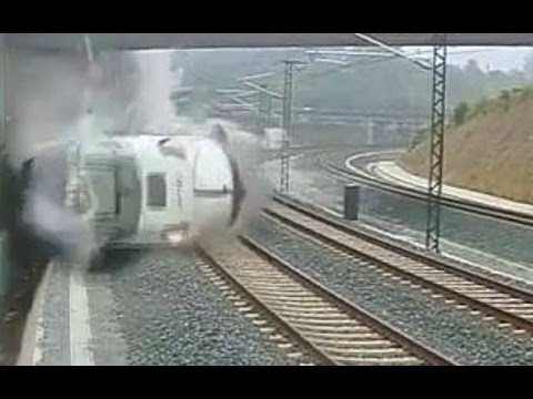 CCTV of the moment Spanish train crashes near Santiago de Compostela