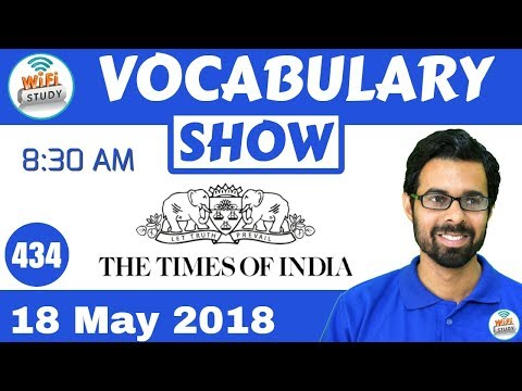 8:30 AM -The Times of India  Vocabulary with Tricks (18th May, 2018)   Day #434