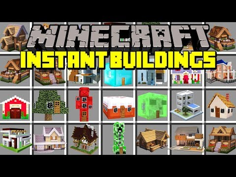 Minecraft INSTANT BUILDINGS MOD! | SPAWN INSTANT HOUSES, BUILDINGS, & MORE! | Modded Mini-Game