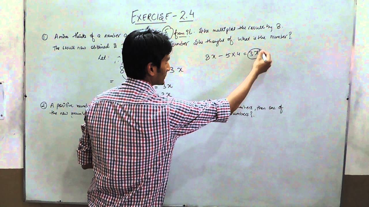 Exercise 2 4 (Questions 1 and 2) NCERT Solutions for Class 8th Maths Linear  Equations