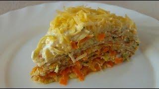 Кабачковый торт с морковью и луком.