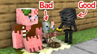 Monster School : Bad Baby Zombie Pigman and Good Baby Wither Skeleton - Minecraft Animation