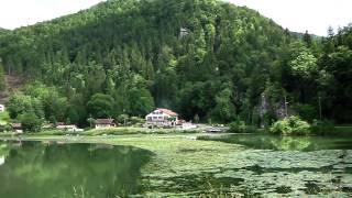 French Swiss Border lake and mountains at Biaufond, Jura