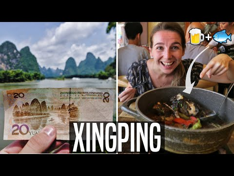 20 RMB NOTE IN REAL LIFE (Xingping) | Trying Chinese BEER FISH | China Travel
