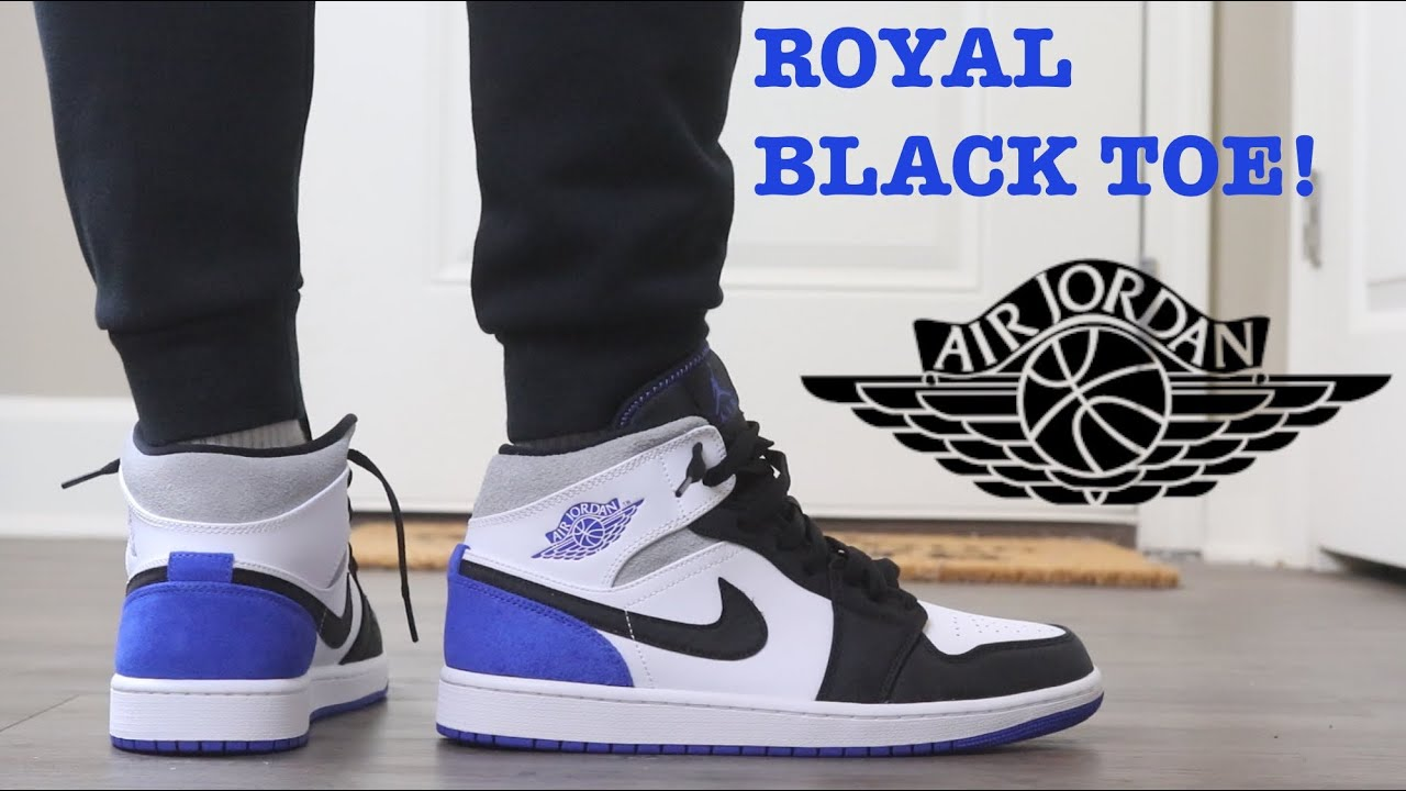 "REVIEW AND ON FEET OF THE AIR JORDAN 1 MID ""ROYAL BLACK TOE"" ARE THESE THE  BEST MIDS THIS YEAR?"