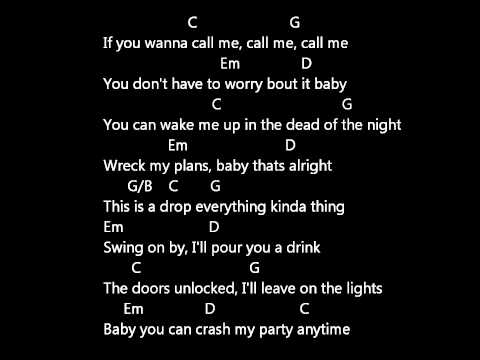 luke bryan CRASH MY PARTY LYRICS AND CHORDS