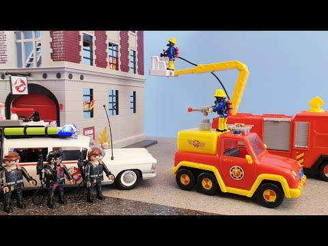fireman-sam-toys-fire-at-the-playmobil-ghostbusters-house-fire-station-ecto-1-jupiter-venus-toy