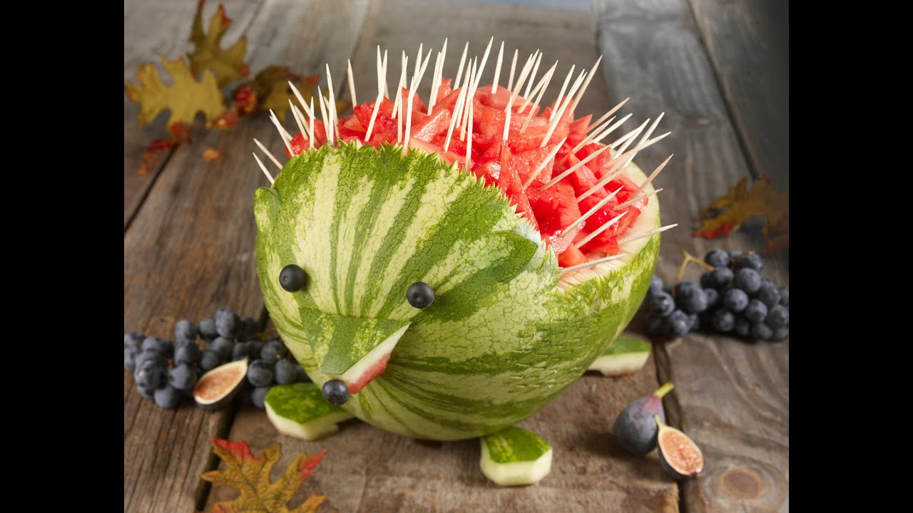 Watermelon Hedgehog Carving - YouTube