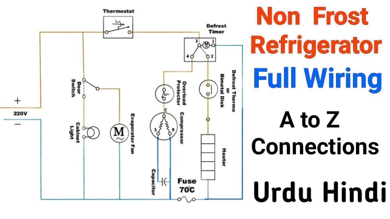 Non Frost Refrigerator Full Electric Wiring Connections
