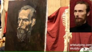 Портрет бородатого мужчины - Обучение живописи. Портрет, 37 серия