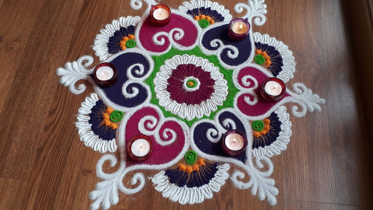 Simple and attractive rangoli designs with colours by Shital Daga | Diwali Rangoli designs