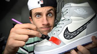 CUSTOMIZING DIOR JORDAN 1's!! 👟(Scary!!)