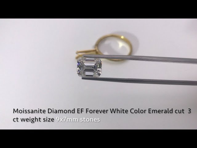 Emerald Cut Moissanite Diamond Forever EF White Color 9x7mm Gemstones Suppliers
