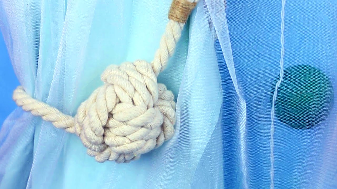 Diy Nautical Curtain Tie Backs Monkey Fist Knot Youtube