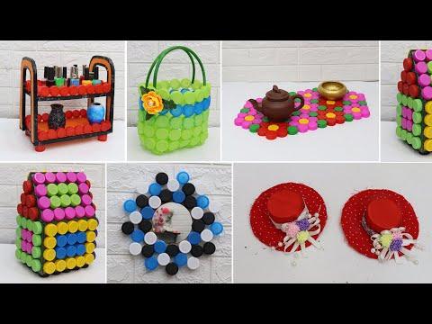 Waste plastic bottle caps craft ideas   Craft ideas using bottle caps