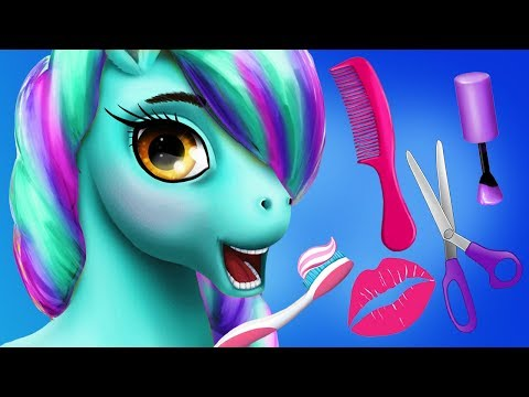 Fun Horse Care Games   Pony Girls Hair Salon, Style, Color Nail Beauty Salon Makeover Kids Games new
