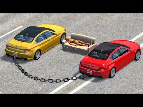 Thumbnail: Chained Car Madness #1 - BeamNG Drive