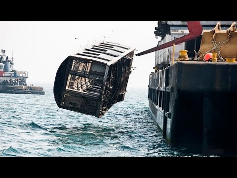 NYC Subway Cars Being Dumped Into The Ocean - You Won't Beli