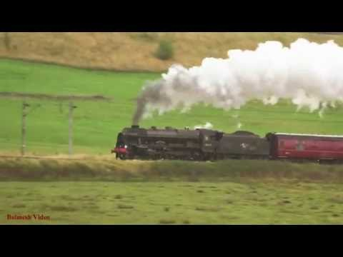 Cumbrian Mountain Express Roars up Shap in Wet and Windy Weather.