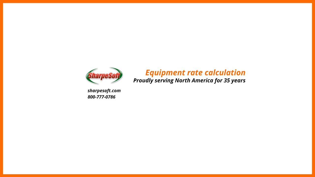SharpeSoft Estimator: Equipment Rate Calculation