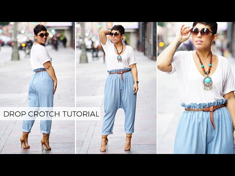 DIY PAPER BAG DROP CROTCH PANTS TUTORIAL