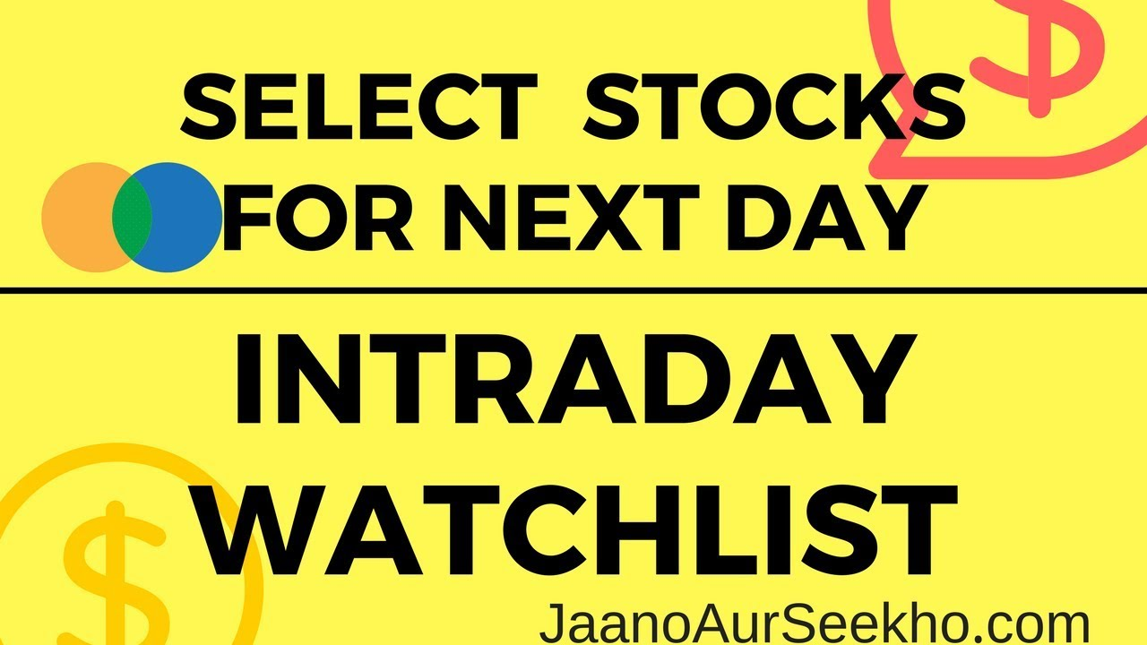 Lesson 17 - How to select stocks for intraday one day before