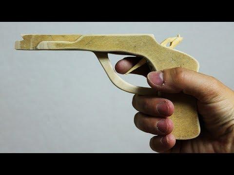 How to make a Wooden Gun that shoots - DIY Rubber Band Gun