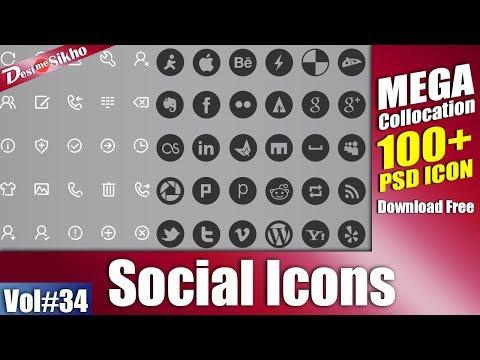 100+ Social Icons For Photoshop Download Free Vol#34 desimesikho 2019
