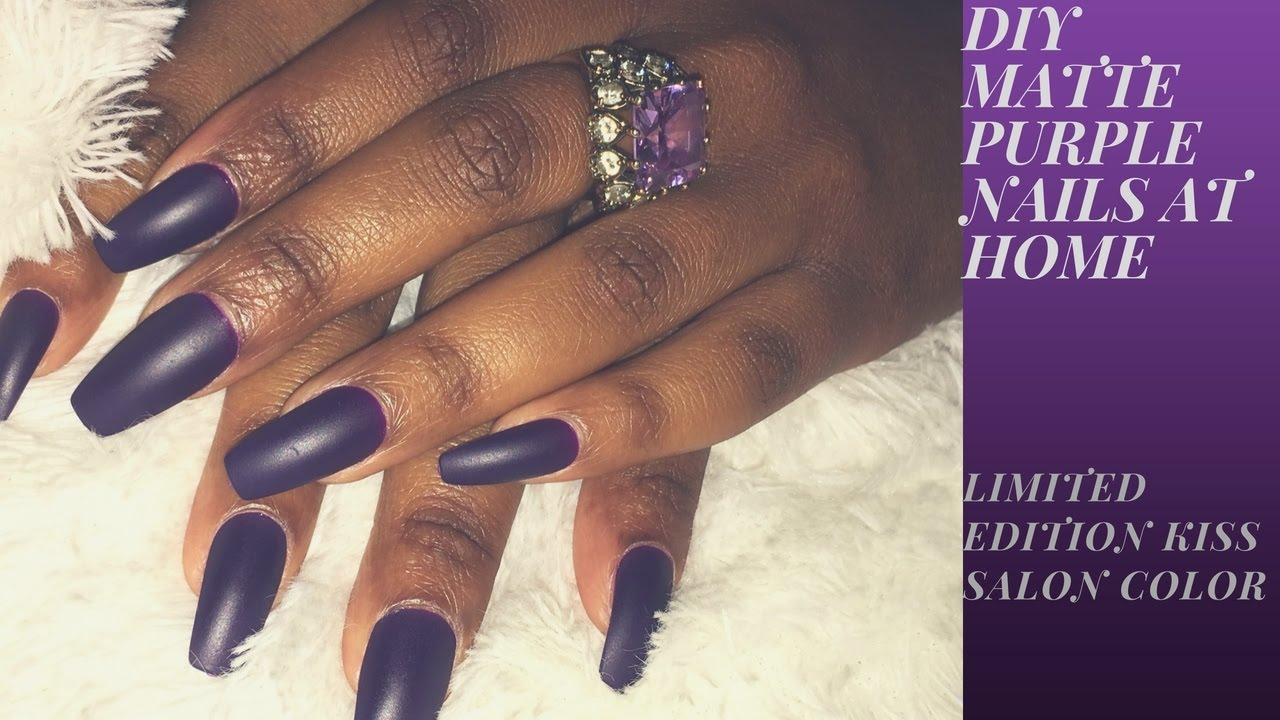 DIY Matte Purple Nails At Home| Limited Edition Kiss Salon Color ...