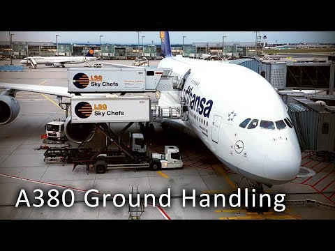 Airbus A380 Ground Handling At The Frankfurt Airport / HD