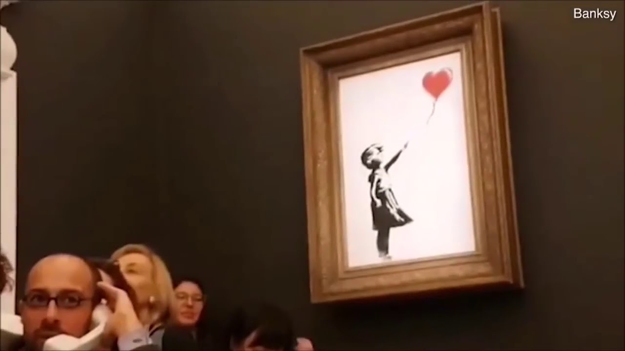 Download £1 Million Banksy Balloon Girl Self Destructs as the Hammer Falls at Sotheby's