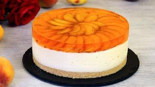 ОЧЕНЬ ВКУСНЫЙ МУССОВЫЙ ТОРТ НА ЙОГУРТЕ С ПЕРСИКАМИ БЕЗ ВЫПЕЧКИ ☆ No-Bake Peach Mousse Cake ☆ Марьяна