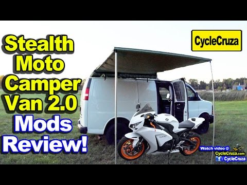 Tiny House Camper Van 2.0 Mods Review (Carries Motorcycle Inside!)