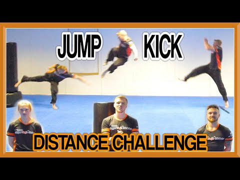WHO CAN JUMP KICK THE FURTHEST?! | Jump Kick Distance Challenge | Team GNT