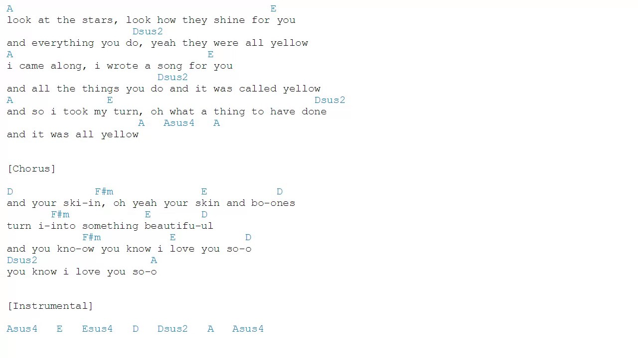 Yellow   Coldplay   Chords   YouTube