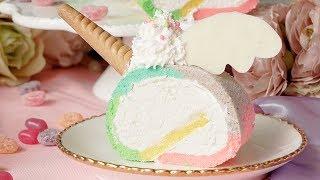 【ゆめふわっ🦄】ユニコーンロールケーキ   レシピはこちら:https://bit...