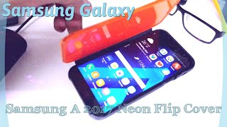 official   samsung galaxy a3 a5 a7 2017 neon flip cover in action