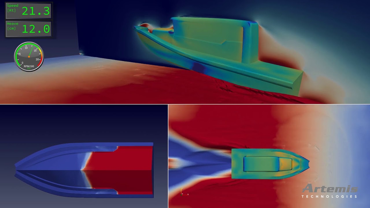 Simulation of a self-propelled powerboat in calm water and head waves