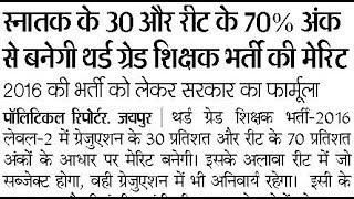 Rajasthan REET Teacher : स्नातक के 30% और रीट के 70% अंक से बनेगी थर्ड ग्रेड शिक्षक भर्ती की मेरिट