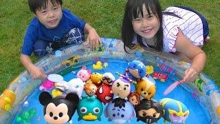 ツムツムすくい をして遊びました♫ 水遊び ディズニー Disney Tsum Tsum toy scooping こうくんねみちゃん thumbnail