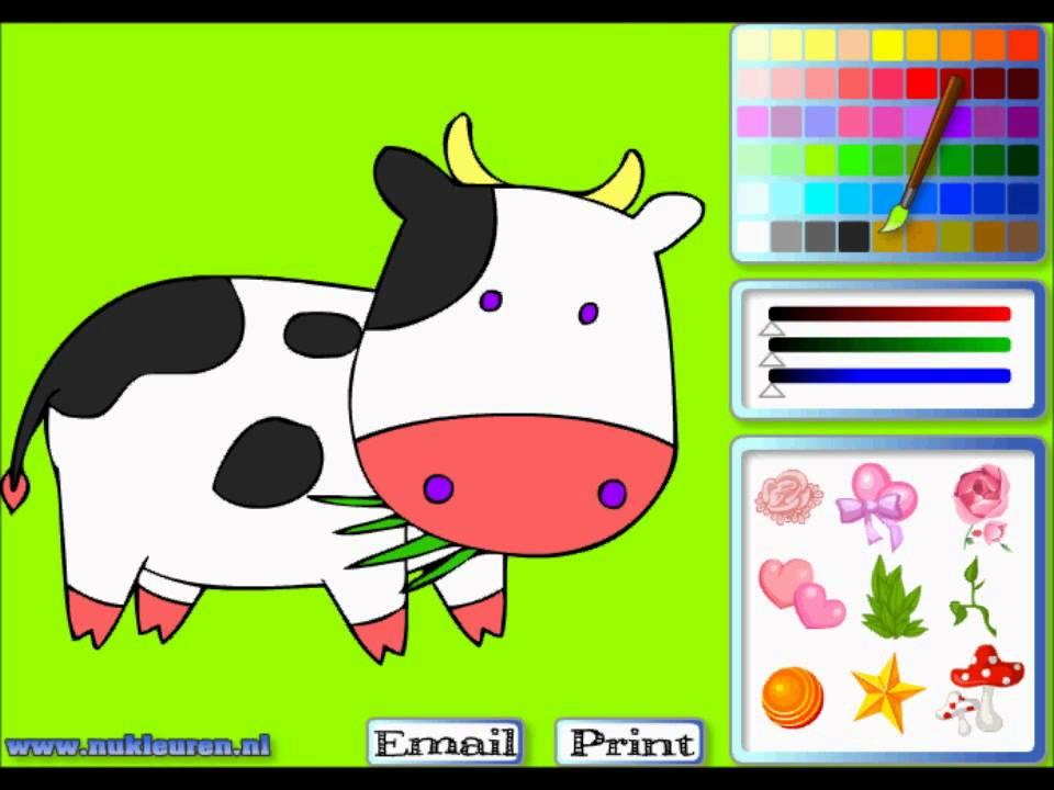 Раскраска корова - Игры на рисование - YouTube