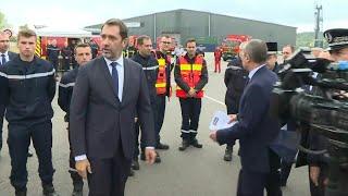 Christophe Castaner sur les lieux de l'incendie à Rouen | AFP Images