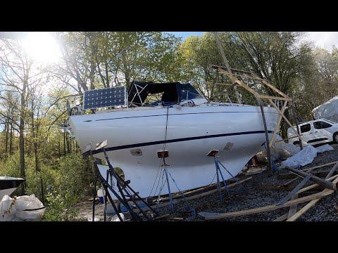 Snowbird Ep35 Preparing the sailing boat for big painting, Hallberg Rassy Rasmus sailboat DIY refit