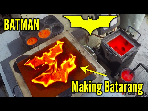 Making gold Batman Batarangs from brass bullet shells