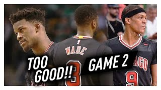 Dwyane Wade, Jimmy Butler & Rajon Rondo Game 2 Highlights vs Celtics 2017 Playoffs - TOO GOOD!