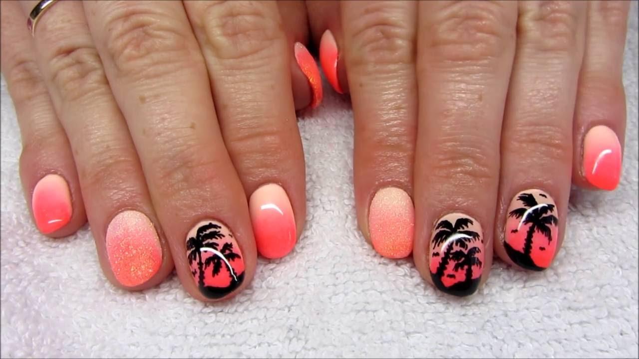Summer Nails Ombre Palm Three Nails Wakacyjne Neonowe