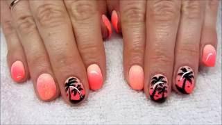 Summer nails - Ombre palm three nails - Wakacyjne neonowe paznokcie z palmą