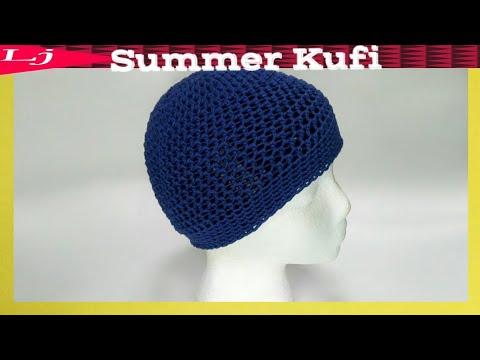 Spring crochet cotton beanie - Crochet Kufi Cap