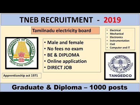 TNEB RECRUITMENT   1000 POSTS   BE & DIPLOMA   jobs for you tamizha   2019